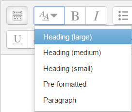 default editor headings