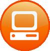 A white computer in an orange cirlce