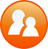 two people in an orange circle