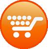 A white shopping cart in an orange circle