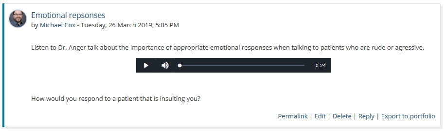 The audio player in a forum post, between two paragraphs.