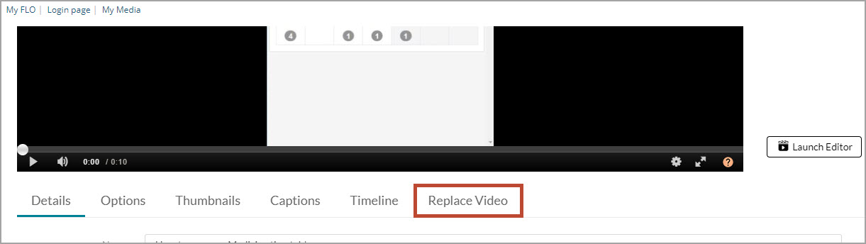 Replace video tab highlighted