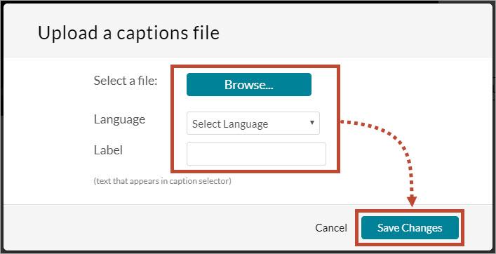 upload prompts for caption file