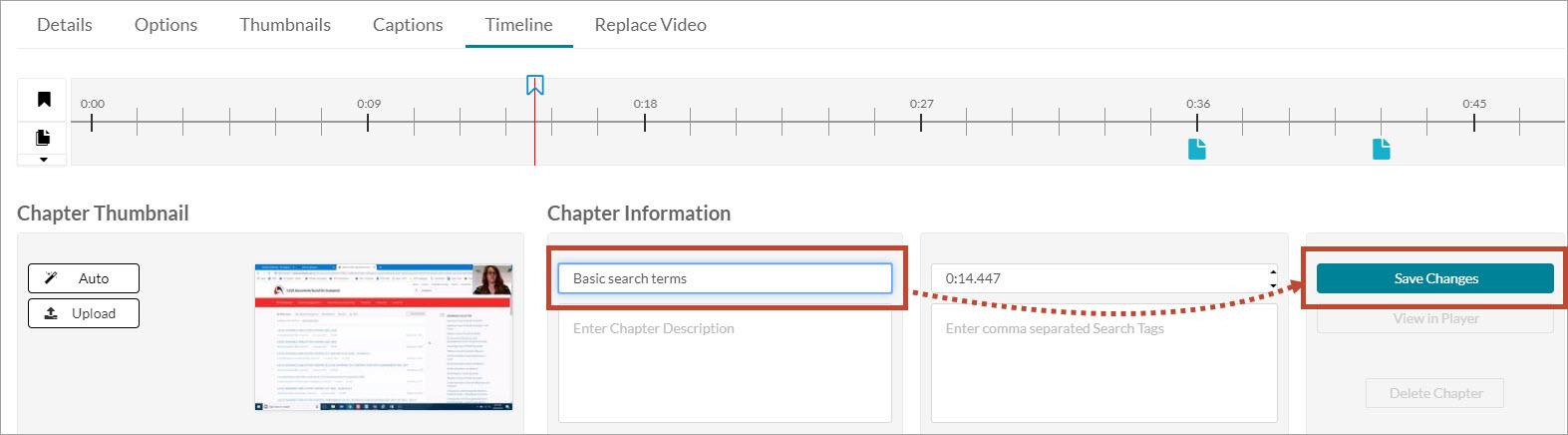 Enter chapter marker information