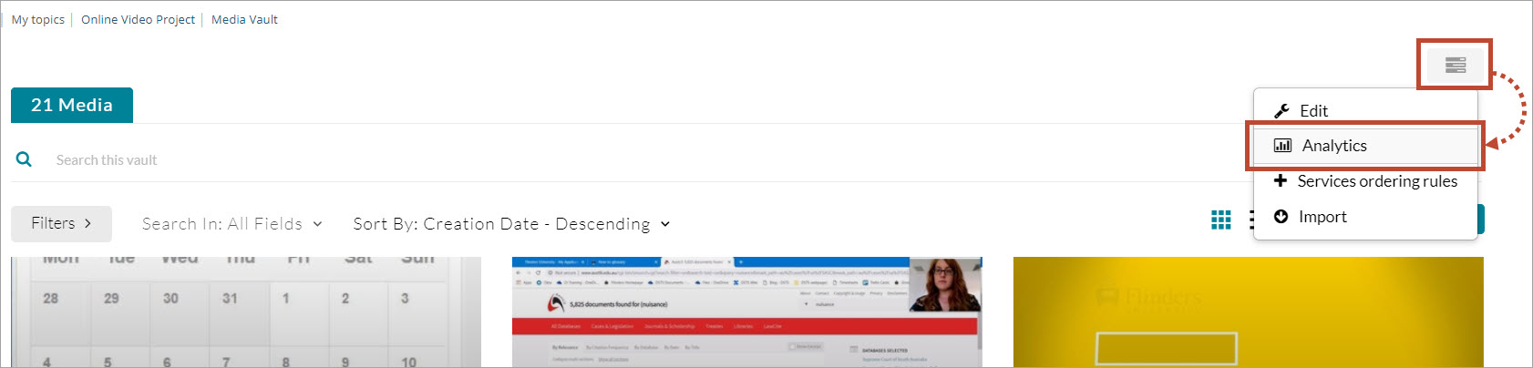 open menu select Analytics