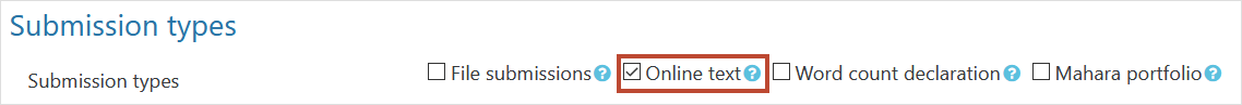 Submission types setting for online text