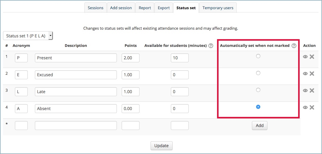 Setting for automatically set when not marked