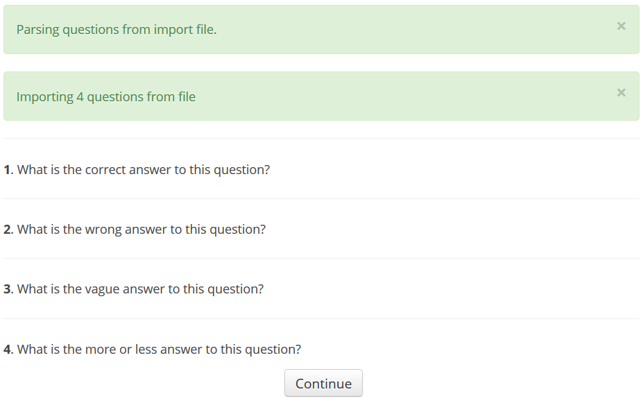 imported questions