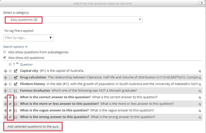 add imported questions to quiz