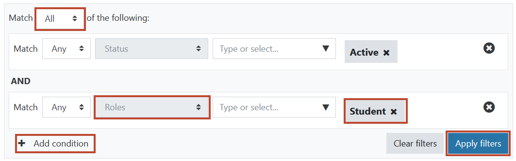 Multiple search filters