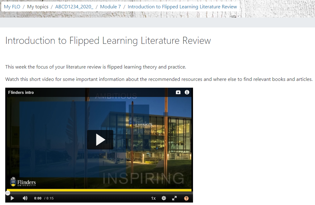 Student view of embedded video