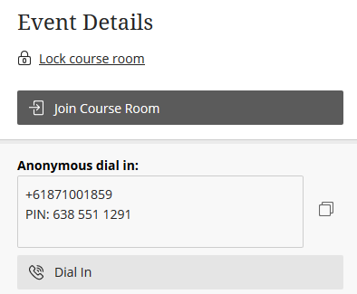The box under 'anonymous dial in' lists the phone number to be called (first line) and the PIN that needs to be entered (second line)