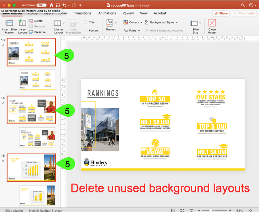 Select and delete background layouts