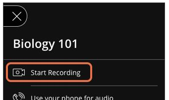 The start recording link is the first item in the session menu