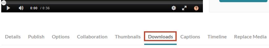 Kaltura downloads tab
