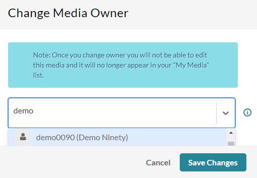 Kaltura - change media owner