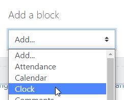 Select 'Clock' from the drop-down menu