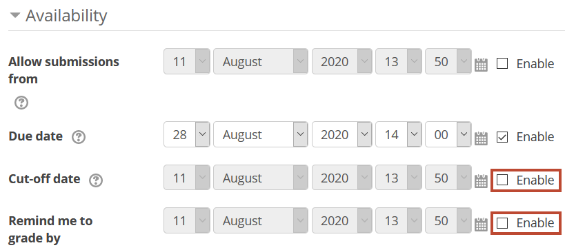 iterative assignment - availability settings