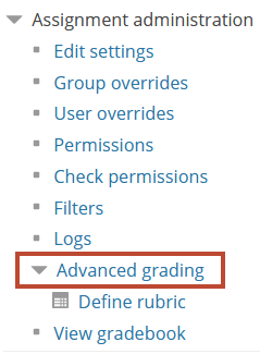 advanced grading menu