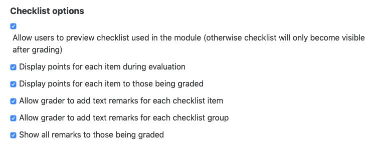 checklist options