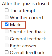 After the quiz is closed - marks