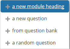 Add a module heading (to other questions)