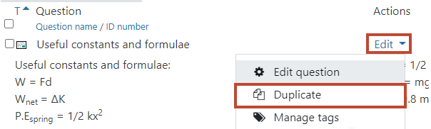 Duplicate a question (icon)