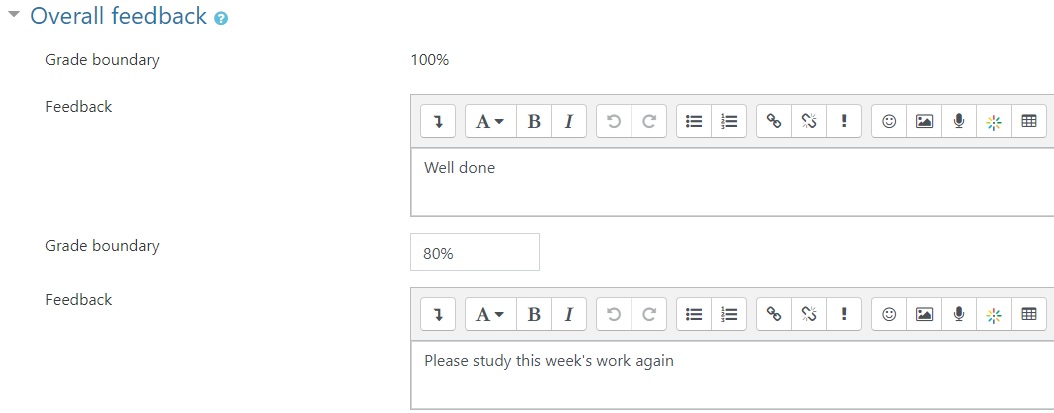 overall feedback