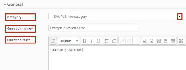 Category, Question name and Question text