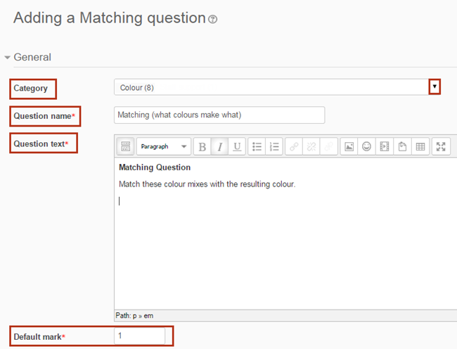 select category, question name, question text, and default mark