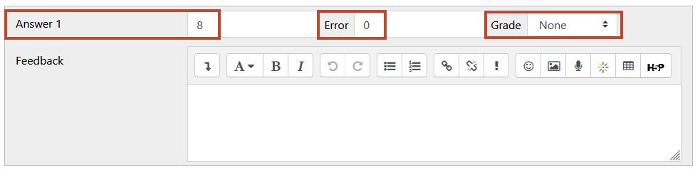 answer field, error, and grade