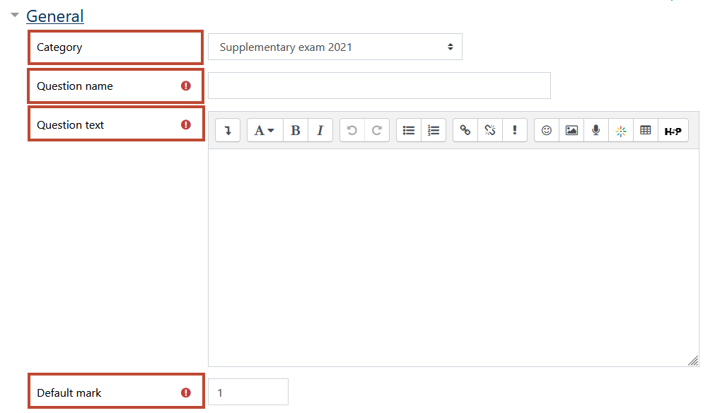 adding a numerical question - input category, question name, question text, default mark
