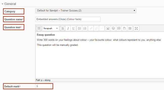 enter a category, question name, question text, and default mark