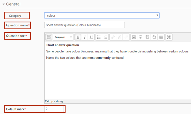 adding a question - category, question name, question text, default mark