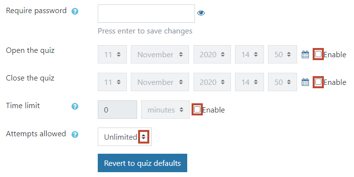 input password, close and poen dates, time limit and attempts allowed