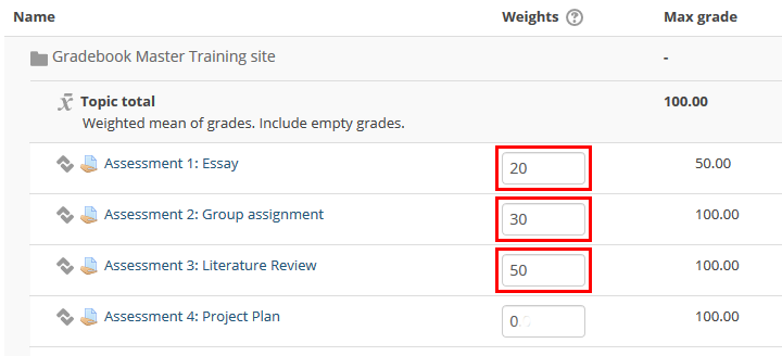 enter weights for each item