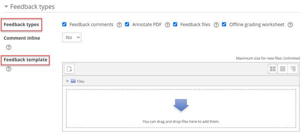 Feedback types tab (options)