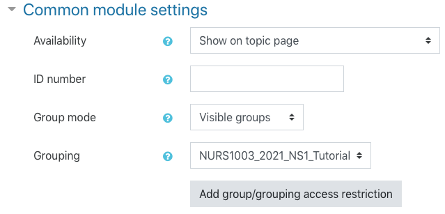 Attendance common module settings