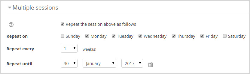 multiple sessions setting