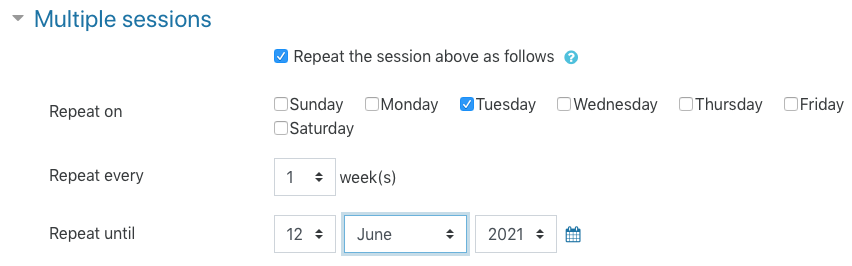 Multiple sessions