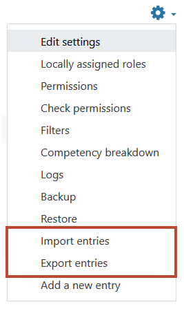 The export and import items are near the bottom of the list. In this picture they are marked with a red border.
