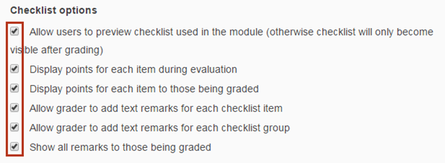 checklist options
