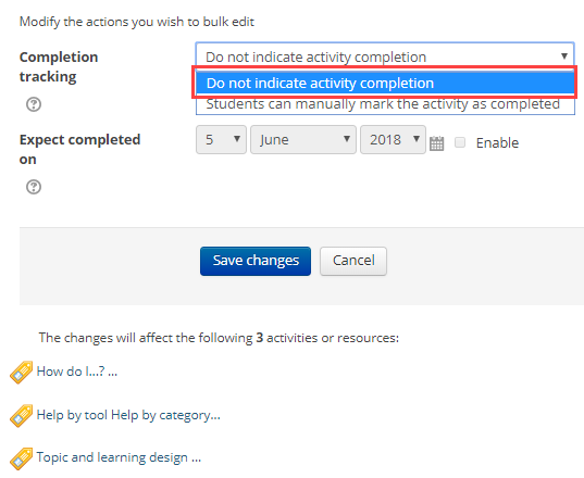 completion tracking option and date