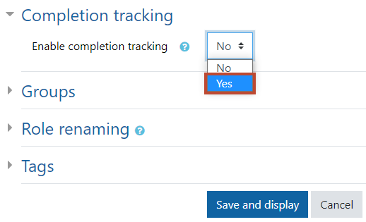 enable completion tracking image
