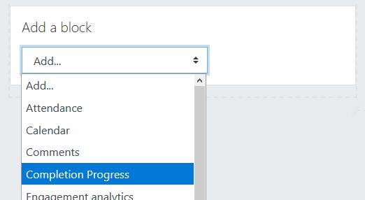 Add completion progress block