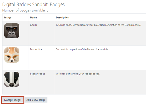 manage badges