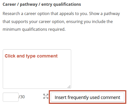 comment in marking guide