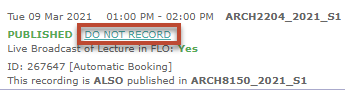 The 'Do not record' link appears next to the green 'Published' message