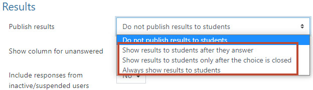 select publish results