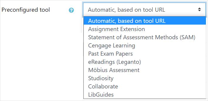 Select preconfigured tool
